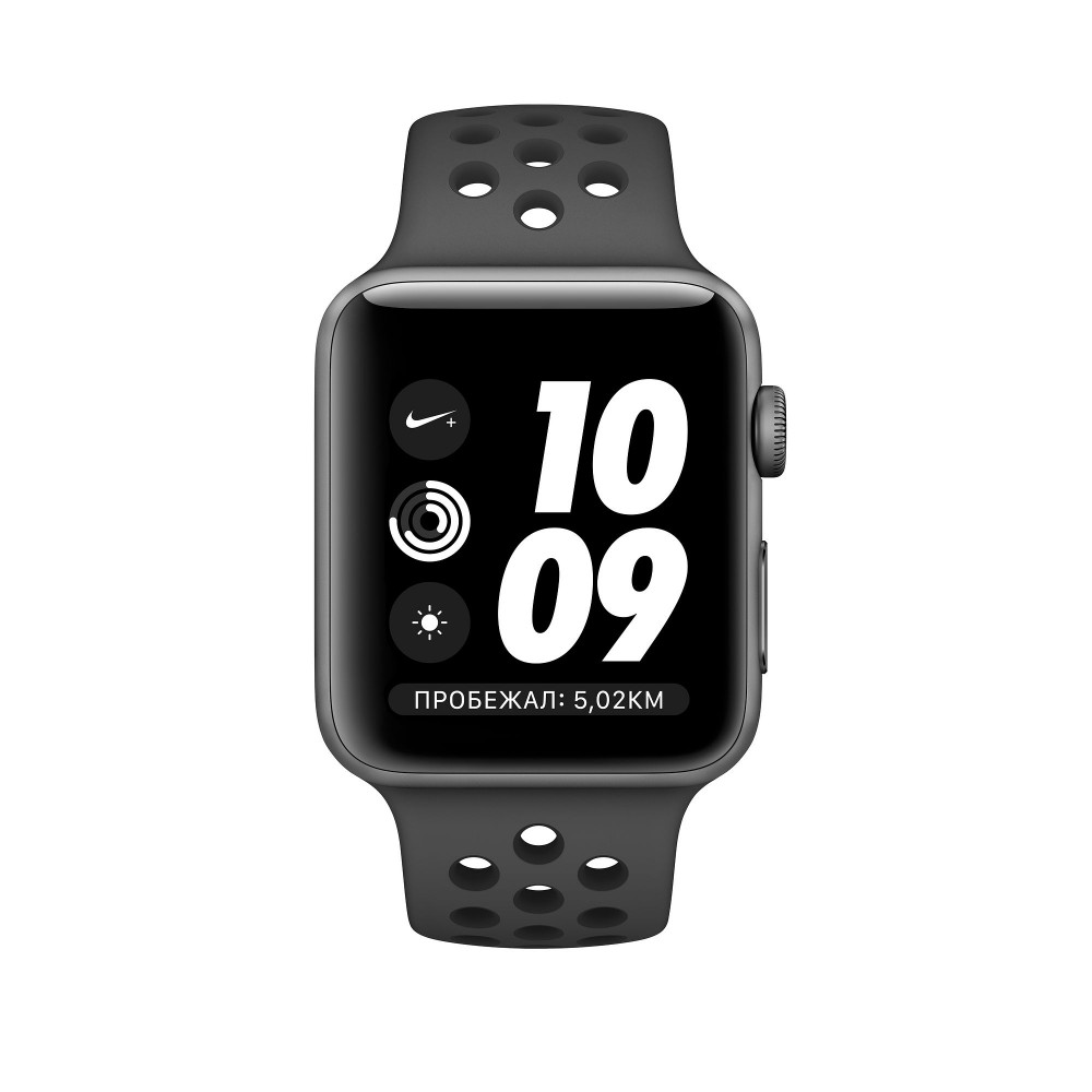 Apple Watch Nike+ Series 3 GPS, 38 мм, алюминий цвета «серый космос», спортивный ремешок Nike «антрацитовый/чёрный»