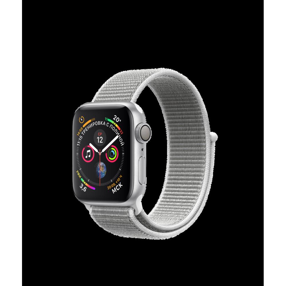 Apple Watch Series 4, 40 мм, корпус из алюминия серебристого цвета, спортивный браслет цвета «белая ракушка»