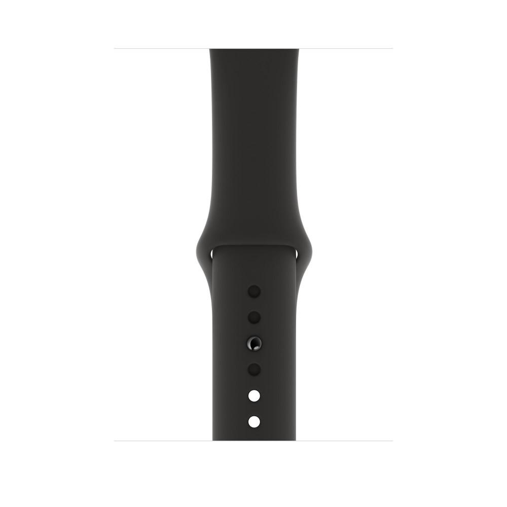 Apple Watch Series 4, 44 мм, корпус из алюминия цвета «серый космос», спортивный ремешок чёрного цвета
