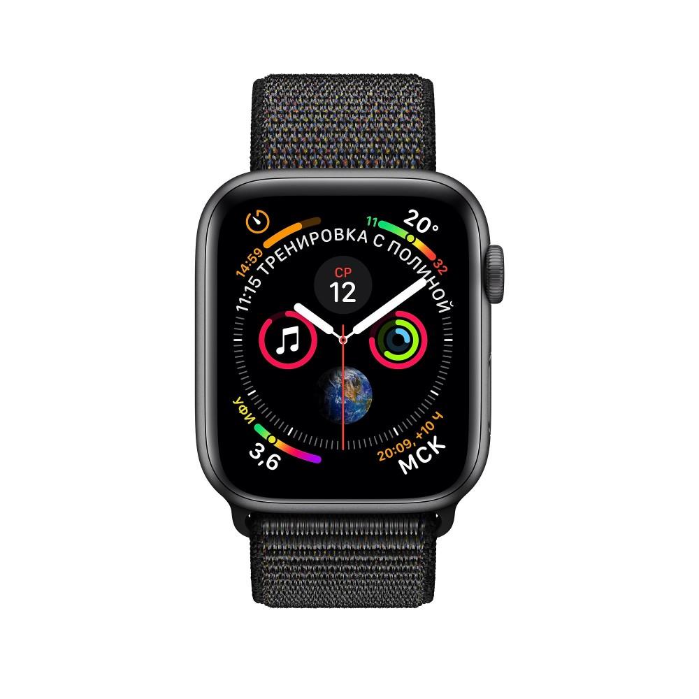 Apple Watch Series 4, 40 мм, корпус из алюминия цвета «серый космос», спортивный браслет чёрного цвета
