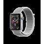 Apple Watch Series 4, 44 мм, корпус из алюминия серебристого цвета, спортивный браслет цвета «белая ракушка»