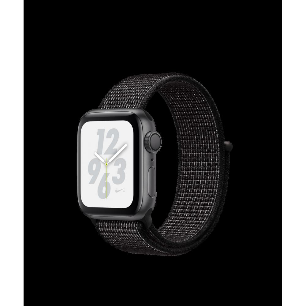 Apple Watch Nike+ Series 4, 40 мм, корпус из алюминия цвета «серый космос», спортивный браслет Nike чёрного цвета