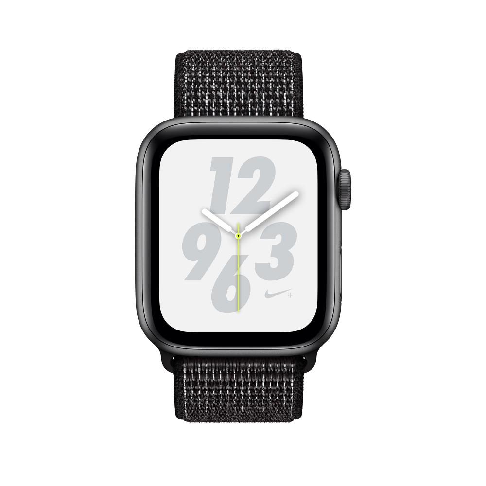 Apple Watch Nike+ Series 4, 44 мм, корпус из алюминия цвета «серый космос», спортивный браслет Nike чёрного цвета