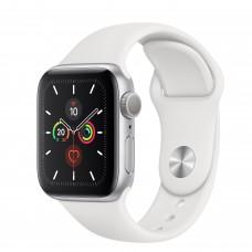 Apple Watch Series 5, 40 мм, корпус из алюминия серебристого цвета, спортивный ремешок белого цвета