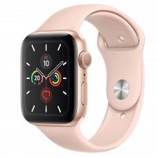 Apple Watch Series 5, 44 мм, корпус из алюминия золотого цвета, спортивный ремешок цвета «розовый песок»
