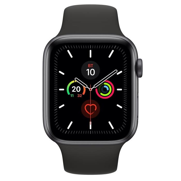 Apple Watch Series 5, 44 мм, корпус из алюминия цвета «серый космос», спортивный ремешок чёрного цвета