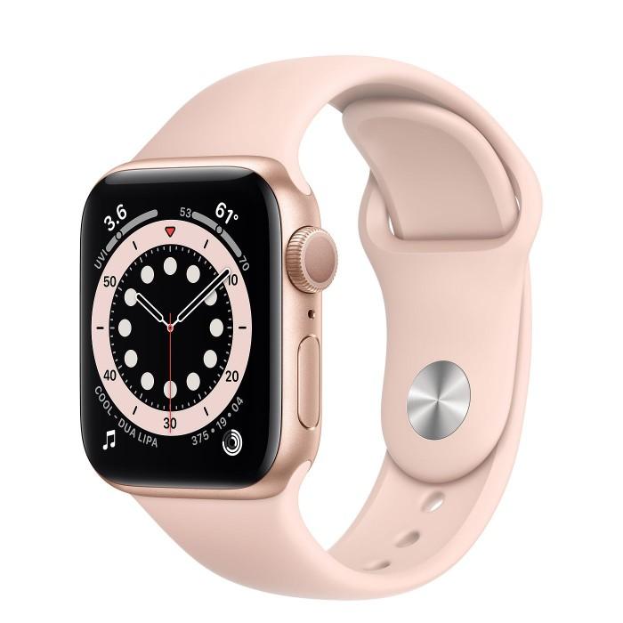 Apple Watch Series 6, 40 мм, корпус из алюминия золотого цвета, спортивный ремешок