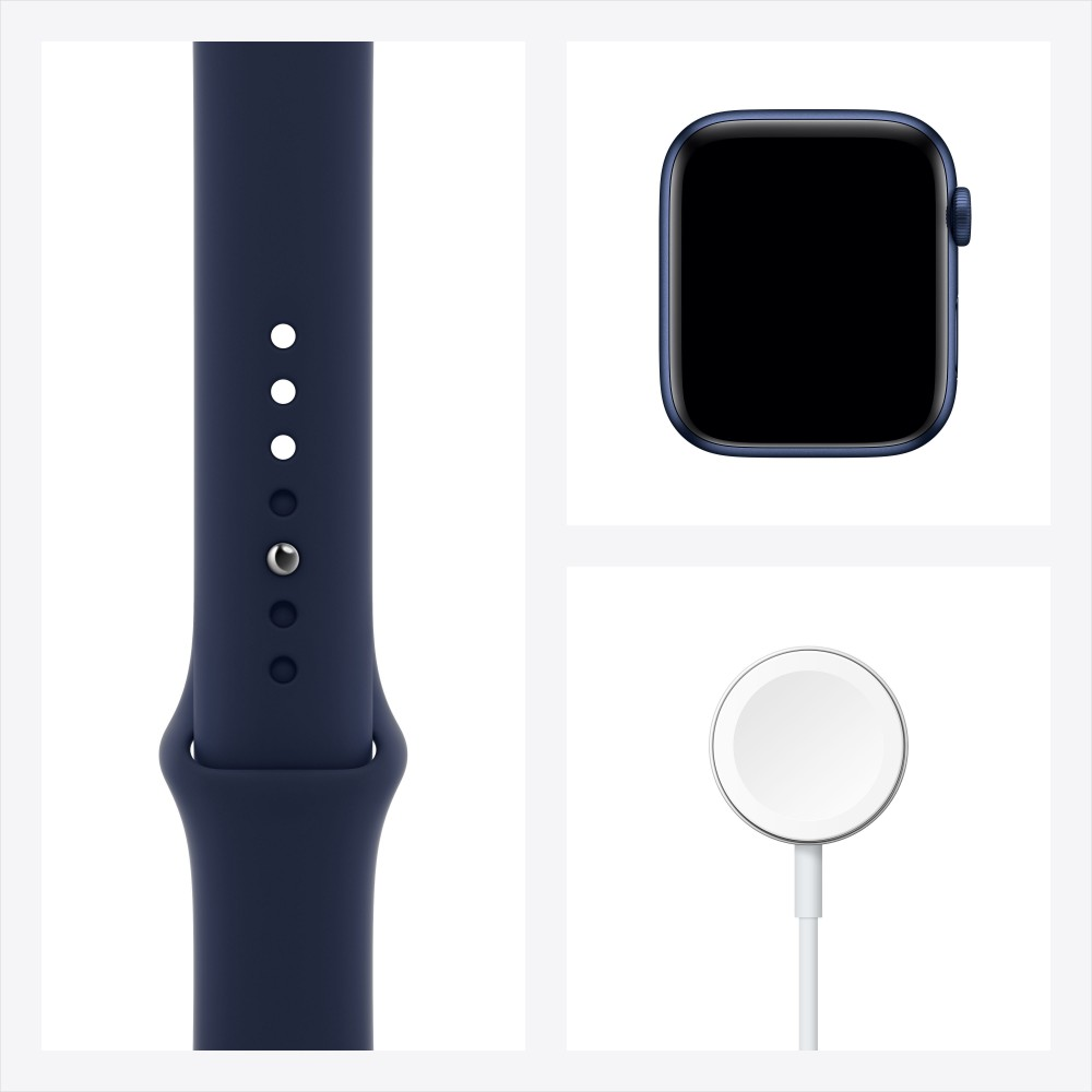 Apple Watch Series 6, 44 мм, корпус из алюминия синего цвета, спортивный ремешок