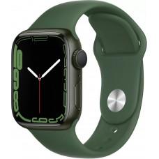 Apple Watch Series 7, 41 мм, корпус из алюминия зелёного цвета, спортивный ремешок цвета «зелёный клевер»