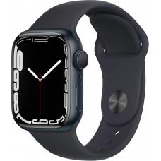 Apple Watch Series 7, 41 мм, корпус из алюминия цвета «тёмная ночь», спортивный ремешок цвета «тёмная ночь»