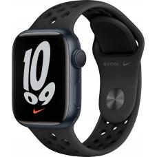 Apple Watch Nike Series 7, 41 мм, корпус из алюминия цвета «тёмная ночь», спортивный ремешок Nike цвета «антрацитовый/чёрный»