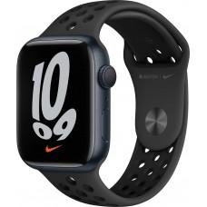 Apple Watch Nike Series 7, 45 мм, корпус из алюминия цвета «тёмная ночь», спортивный ремешок Nike цвета «антрацитовый/чёрный»