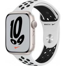 Apple Watch Nike Series 7, 45 мм, корпус из алюминия цвета «сияющая звезда», спортивный ремешок Nike цвета «чистая платина/чёрный»
