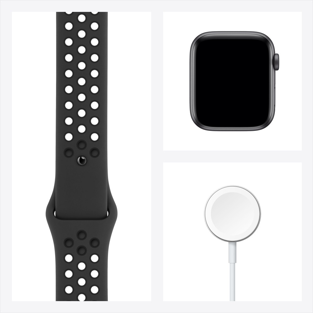 Apple Watch Nike SE, 44 мм, корпус из алюминия цвета «серый космос», спортивный ремешок Nike