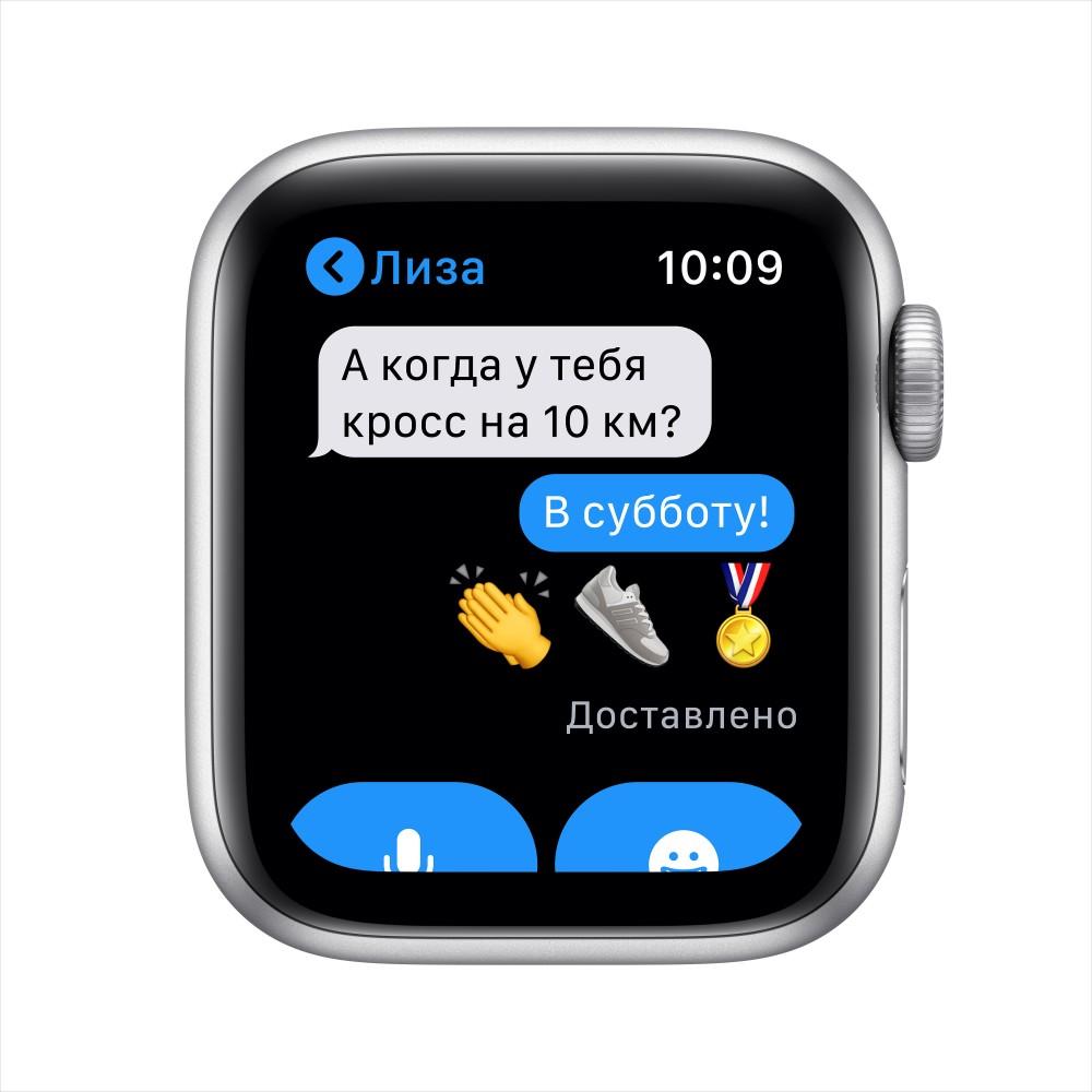 Apple Watch SE GPS 40мм, корпус из алюминия серебристого цвета, спортивный ремешок