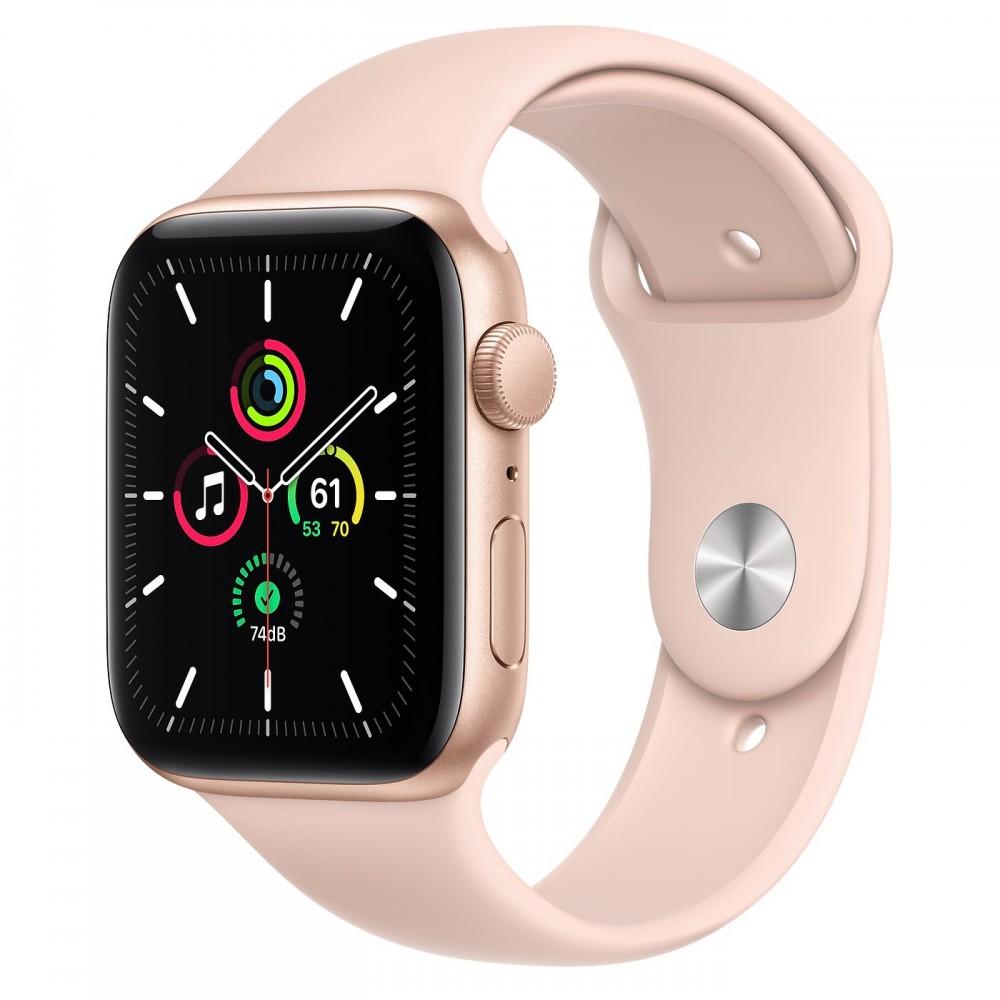 Apple Watch SE GPS 44мм, корпус из алюминия золотого цвета, спортивный ремешок