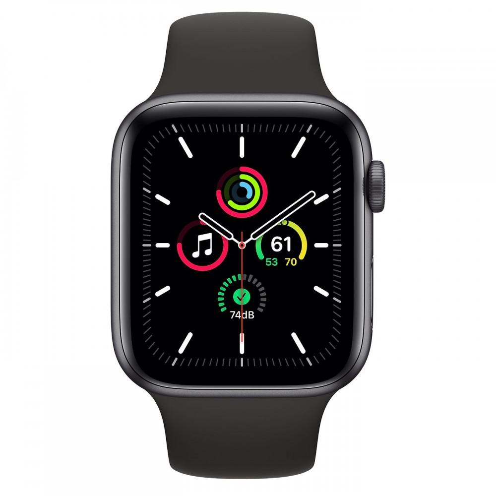 Apple Watch SE GPS 44мм, корпус из алюминия цвета «серый космос», спортивный ремешок