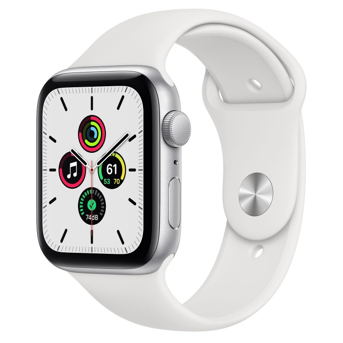 Apple Watch SE GPS 44мм, корпус из алюминия серебристого цвета, спортивный ремешок